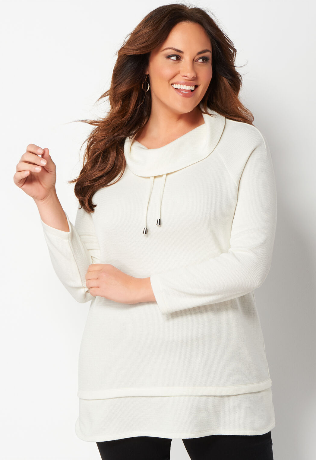 women's textured cowl neck plus size knit top from christopher