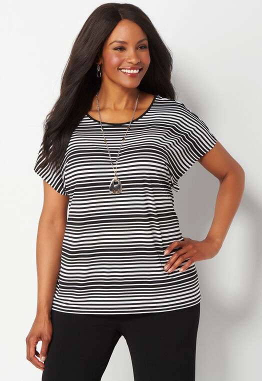 Easy Wear Striped Cross Back Short Sleeved Plus Size Top at Christopher & Banks in Charleston, WV | Tuggl