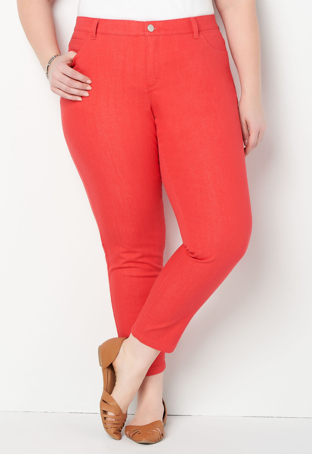 90ba144790b3f ... Signature Slimming Colored Denim Plus Size Ankle Jeans. add to wish  list · add to wish list