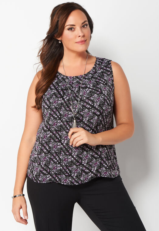 Dotty Houndstooth Plus Size Printed Shell at Christopher & Banks in Charleston, WV | Tuggl