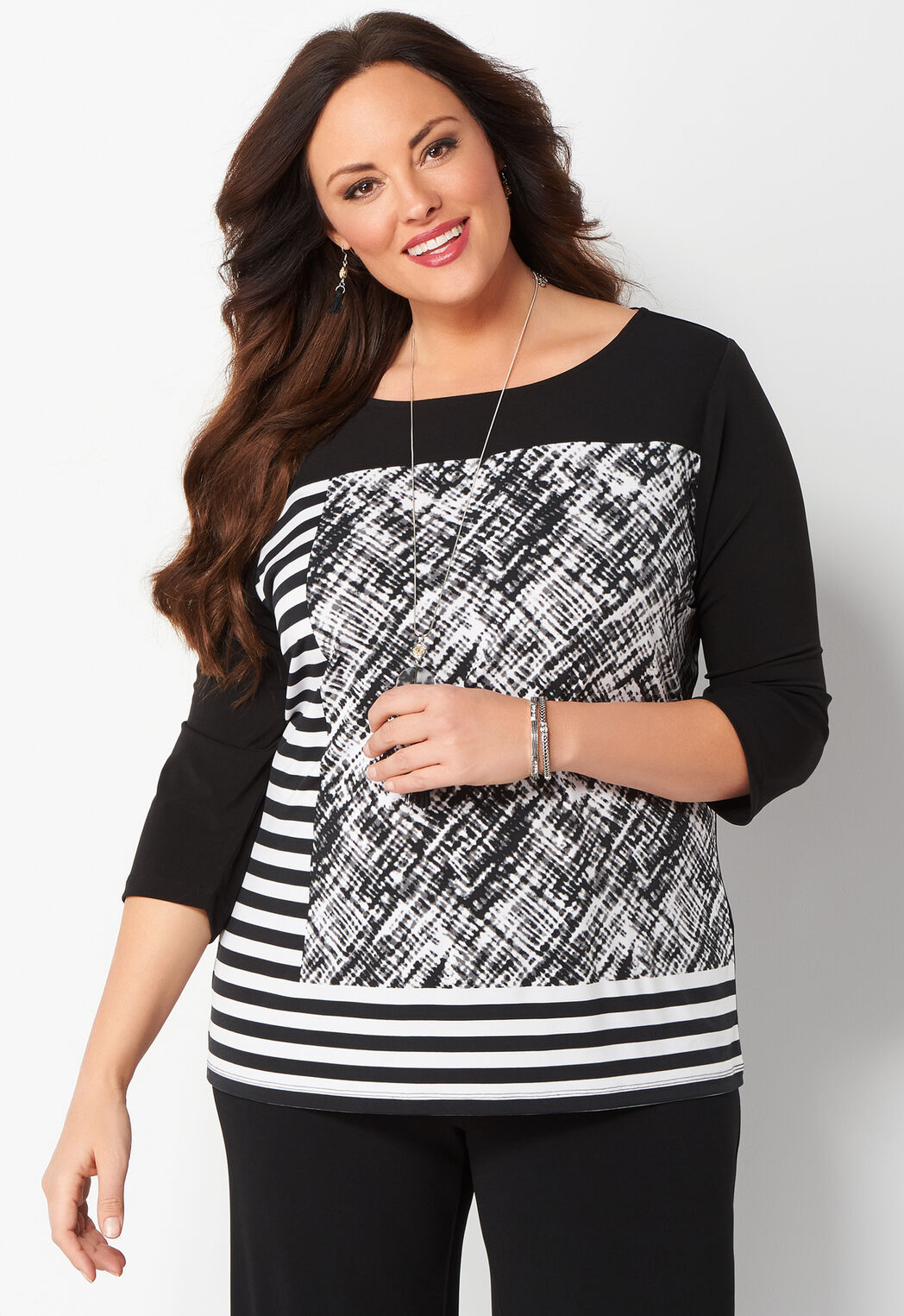 women's easy wear mixed print plus size top from christopher