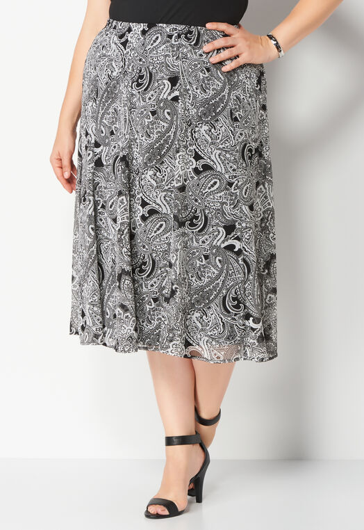Paisley Printed Panel Plus Size Skirt at Christopher & Banks in Charleston, WV | Tuggl