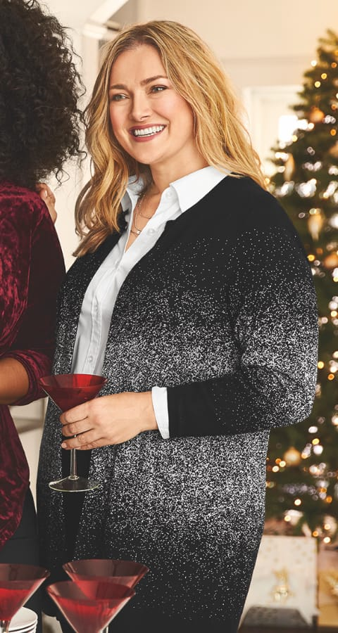 The Ombre Speckle Cardigan Sweater.