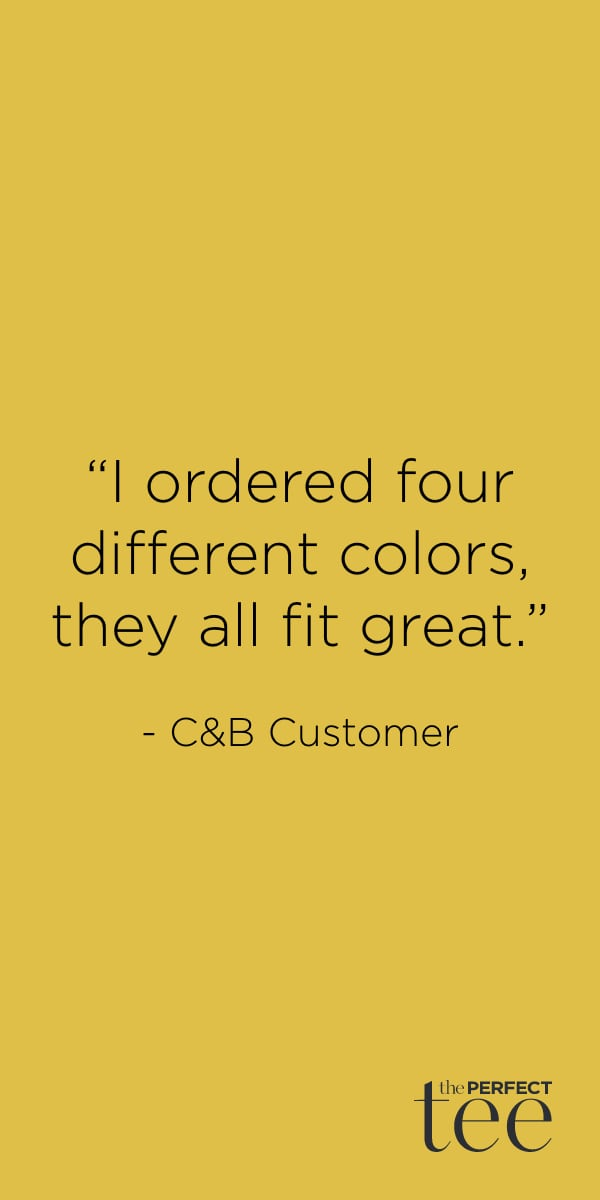 """""""I ordered four different colors, they all fit great."""" - Christopher & Banks customer."""