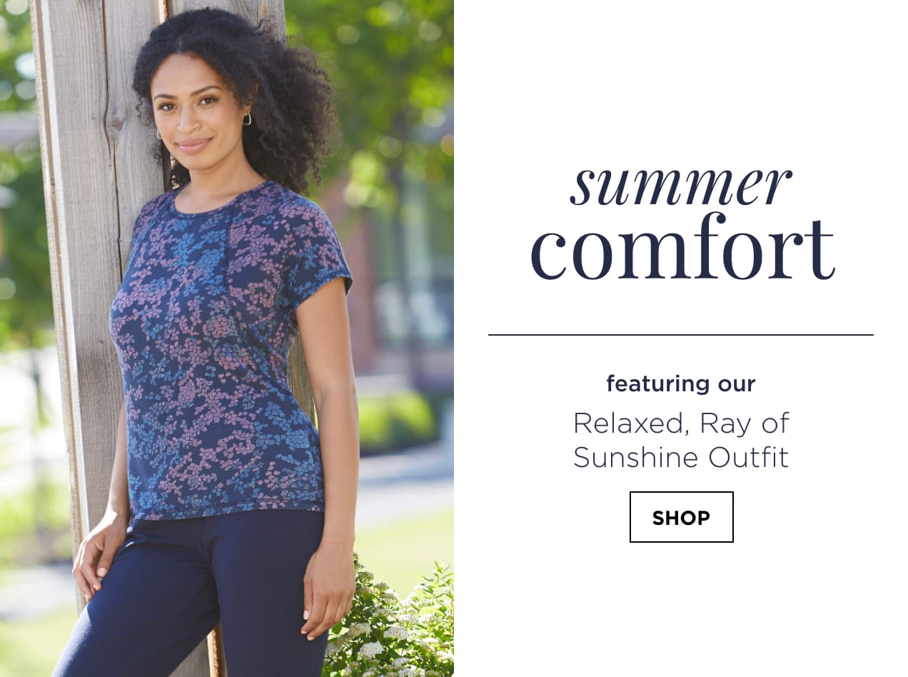 """Summer Comfort. Featuring our """"Relaxed Ray of Sunshine"""" Outfit: including the Relaxed Restyled Rib Knit Iconic Print Tee, Signature Slimming Trouser Jean Average Relaxed Fit, and a Snap Top Twist Hoop Earring. Shop."""