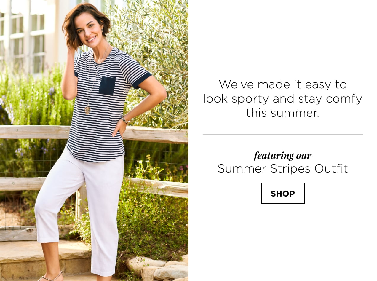 We've made it easy to look sporty and stay comfy this summer. Featuring our Summer Stripes Outfit: including the relaxed.Restyled.® Contrast Pocket Striped Tee. Shop.
