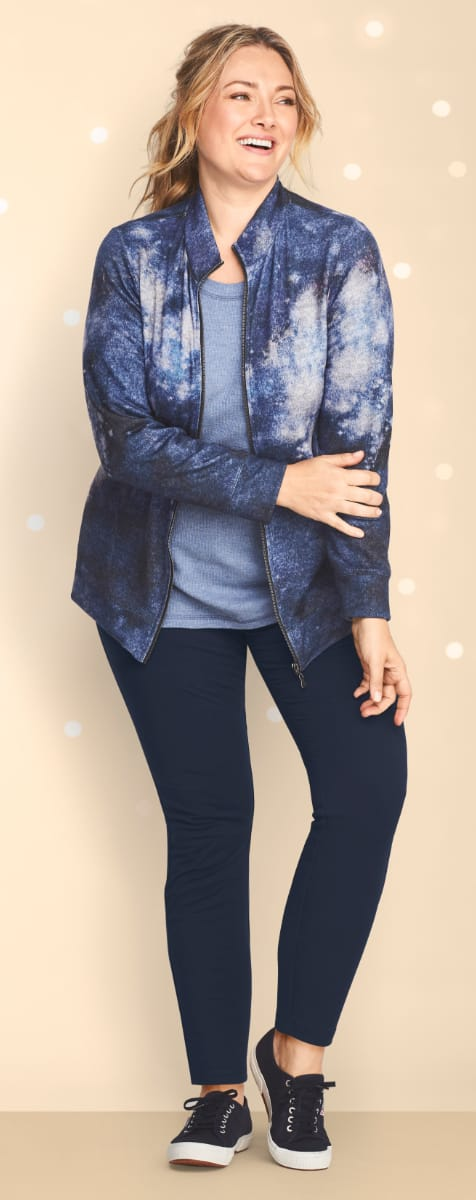 The Seeing Stars Outfit: Featuring the Relaxed restyled galaxy printed jacket, solid thermal tee, with a relaxed restyled pull-on legging.