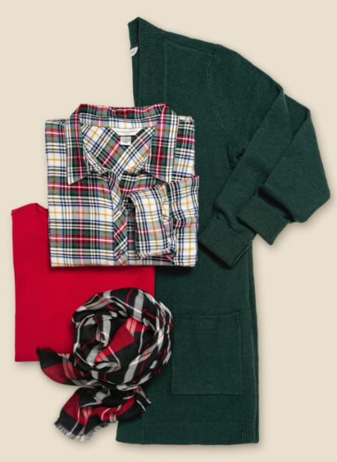 The Under-the-Tree Gift Set: Featuring the Classic plaid shirt, long sleeve essential tee, cardigan, and a buffalo plaid scarf.