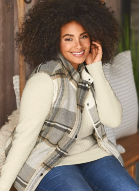 The Simply-the-Vest Outfit: the cozy blocked rib pullover sweater with the fur lined plaid vest.