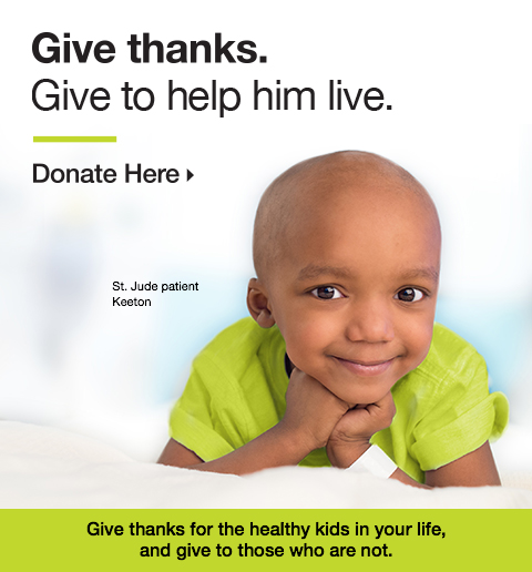 Give Thanks. Give to help him live - Christopher and Banks St. Jude