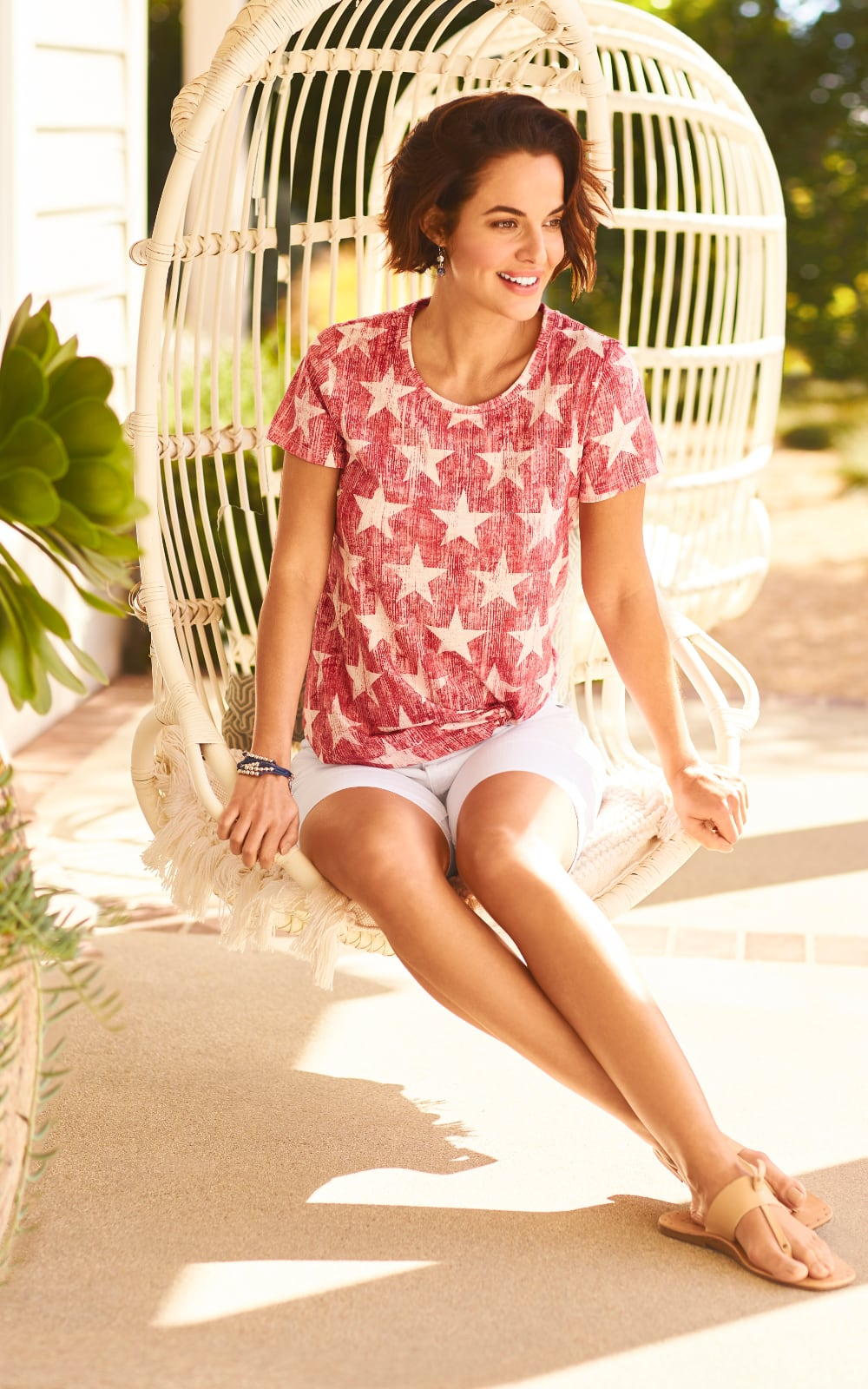 """Easy Care Linen Blend! Our """"Seeing Stars"""" Outfit featuring an Allover Stars Printed Tee and a Pull-On Signature Slimming Luxe Stretch Crop. """"Linen blend"""" consists of either linen and rayon or linen and cotton."""