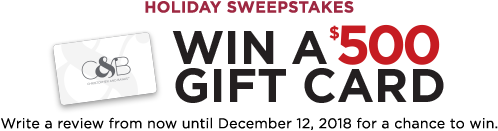 Holiday Sweepstakes! Win a $500 Gift Card! Write a review from now until December 12th, 2018 for a chance to win.