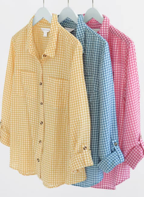 A trio of our Gingham Button-Up Shirts.