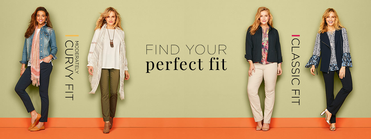 Find Your Perfect Fit: Moderately Curvy Fit, Classic Fit.