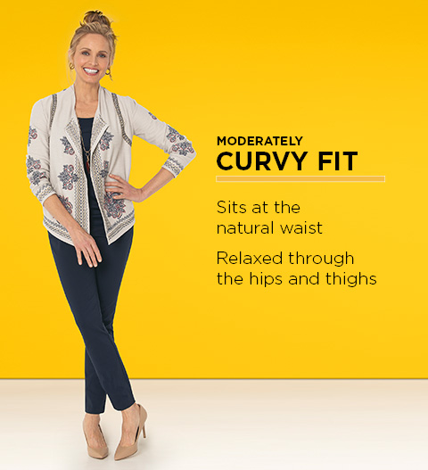 Moderately Curvy Fit: Sits at the natural waist and is relaxed through the hips and thighs.