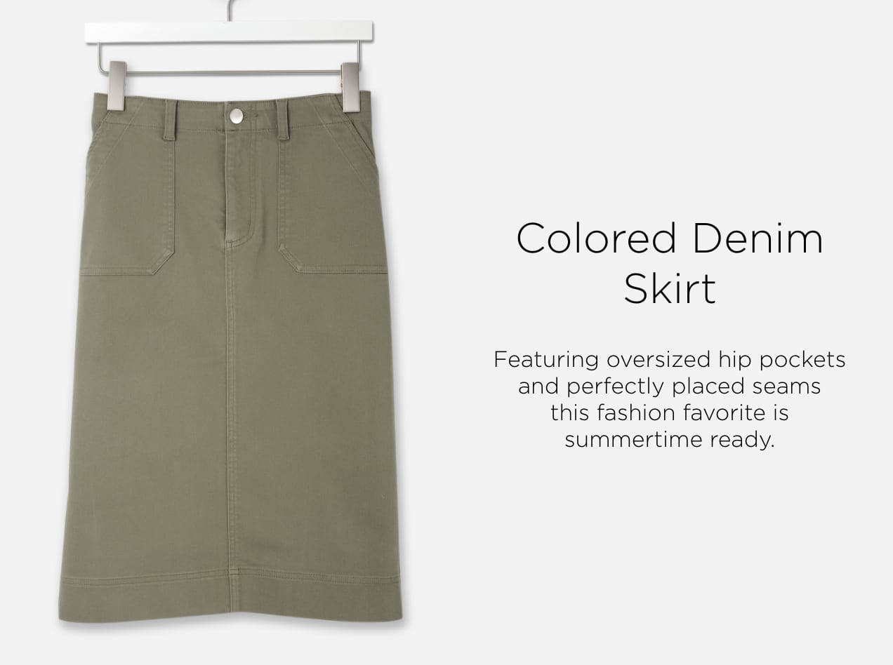 Colored Denim Skirt. Featuring oversized hip pockets and perfectly placed seams, this fashion favorite is summertime ready.