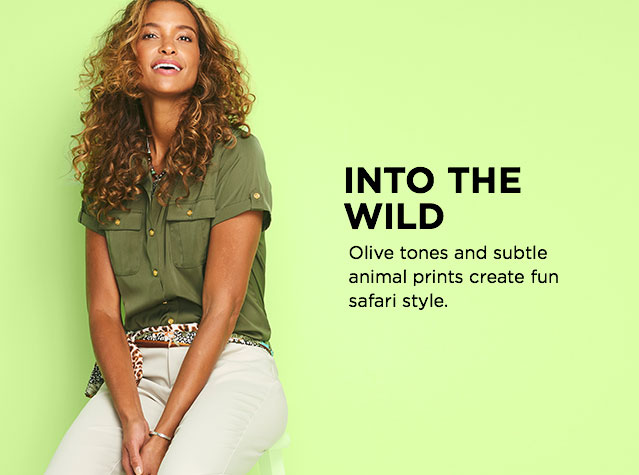Into The Wild: Olive tones and subtle animal prints create fun, safari style.