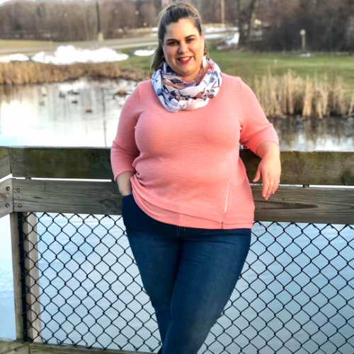 """A Christopher & Banks blogger, """"Sandae"""", wearing a Pique Solid Knit Top with a Floral Striped Border Scarf."""