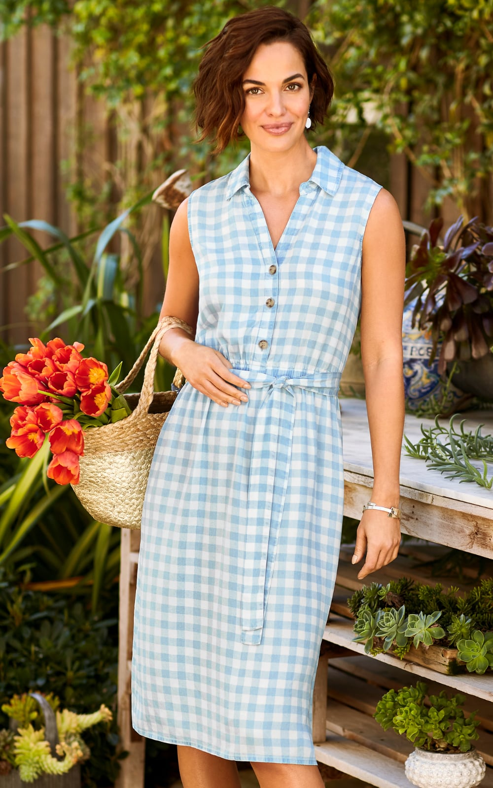 "Shop our ""Summer Picnic"" Outfit featuring a Button-Front Gingham Dress, Silver Textured Hoop Earring, and a Marbelized Beaded Bracelet."