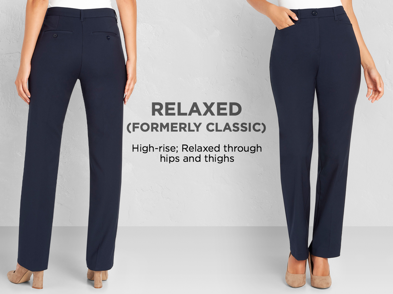 "Relaxed (Formerly: ""Classic""): Relaxed through hips and thighs."