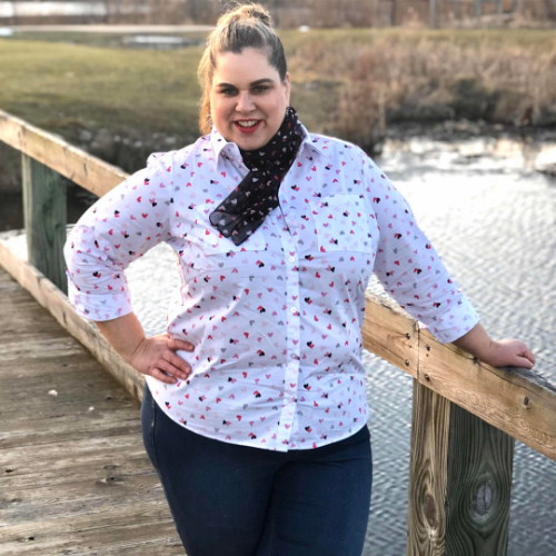 "A Christopher & Banks blogger, ""Sandae"", wearing a Tiny Hearts Printed Essential Shirt with a Tiny Hearts Printed Scarf."