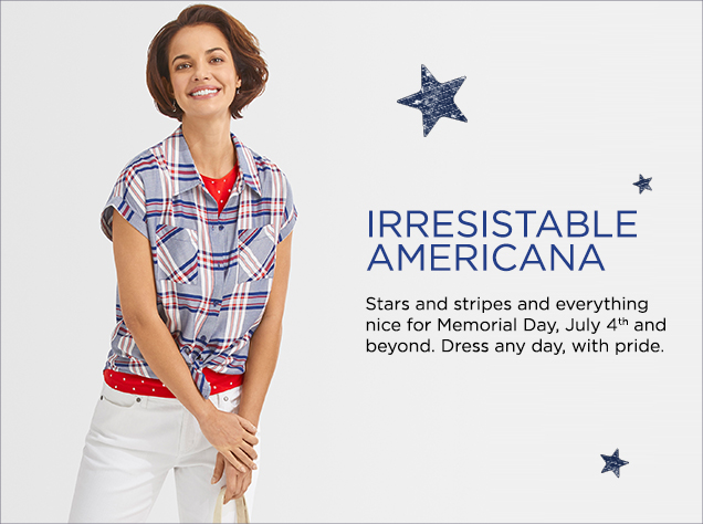 Irresistable Americana: Stars and stripes and everything nice for Memorial Day, July 4th and beyond. Dress any day, with pride.