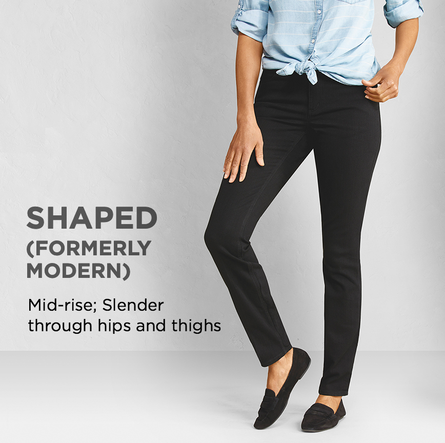"Shaped (Formerly ""Modern""): Slender through hips and thighs."