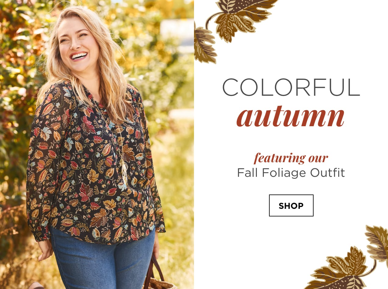 """Colorful Autumn. Featuring our """"Fall Foliage"""" Outfit: including the Dotty Foliage Printed Blouse, Everyday Straight Jean Average Straight Fit, and a Long Cluster Leaf Necklace. Shop."""