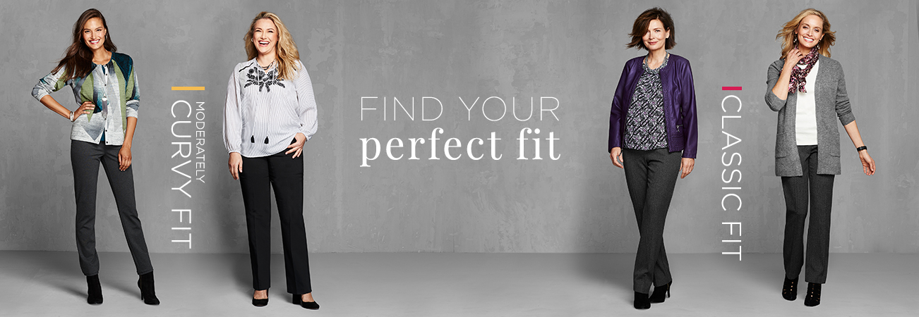 Christopher & Banks® | cj banks® Misses, Petite and Plus Size Women's Clothing Category - Women Pants Fit Guide - Find your perfect fit: Moderately Curvy Fit | Classic Fit