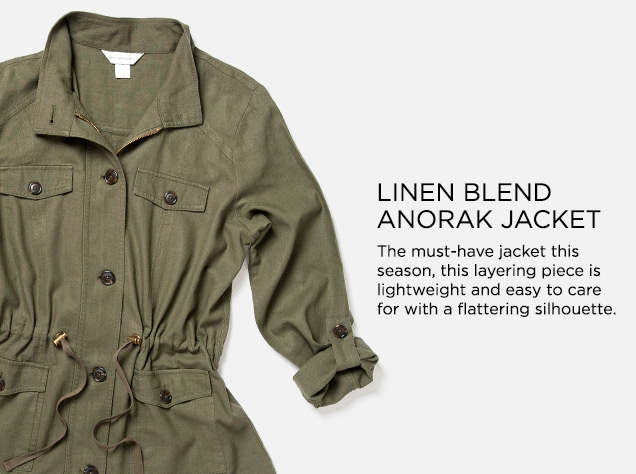 Linen-Blend Anorak Jacket: The must-have jacket this season, this layering piece is lightweight and easy to care for with a flattering silhouette.