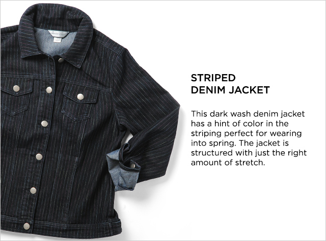 Ways-to-Wear: Striped Denim Jacket - This dark wash denim jacket has a hint of color in the striping perfect for wearing into spring. The Jacket is structured with just the right amount of stretch.