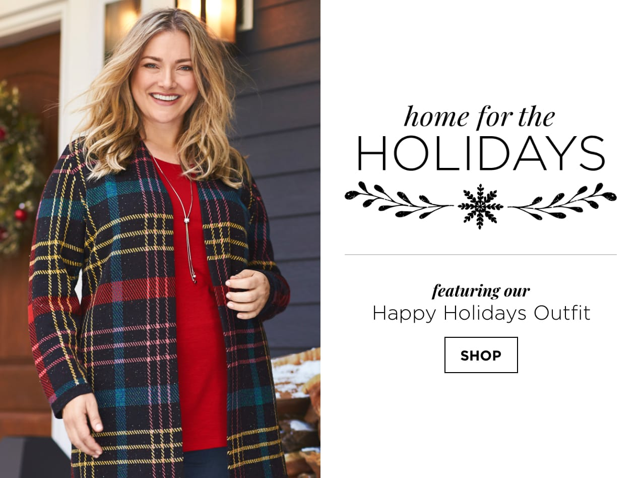 Home for the Holidays featuring our Happy Holidays Outfit. Shop.