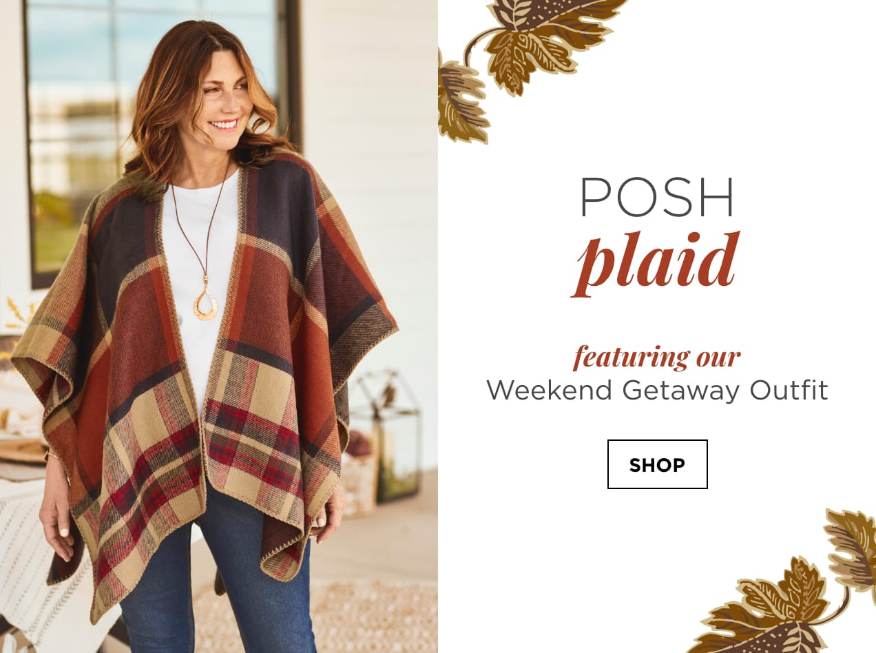 """Posh Plaid. Featuring our """"Weekend Getaway"""" Outfit: including the Fall Plaid Ruana, 3/4 Sleeve Satin Trim Perfect Tee, Long Corded Pendant Necklace, and the Everyday Ankle Jean: Shaped Fit. Shop."""