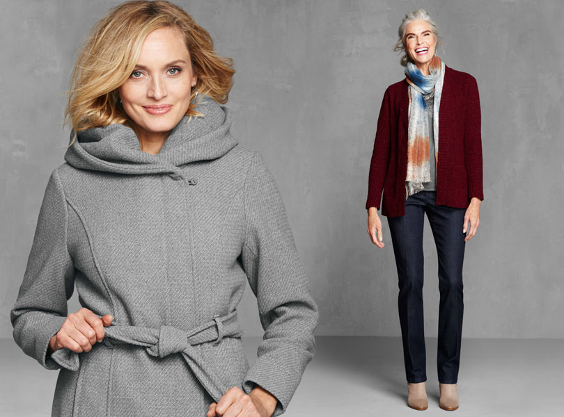 Cozy up: Get comfy and cozy with our fall sweaters, jackets, and outerwear.