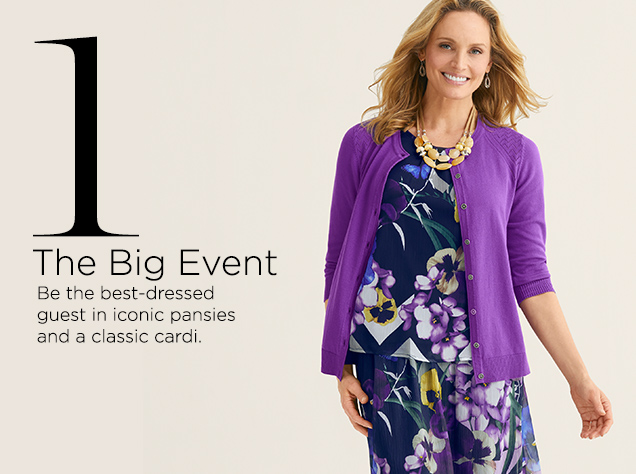 1. The Big Event. Be the best-dressed guest in inconic pansies and a classic cardi.