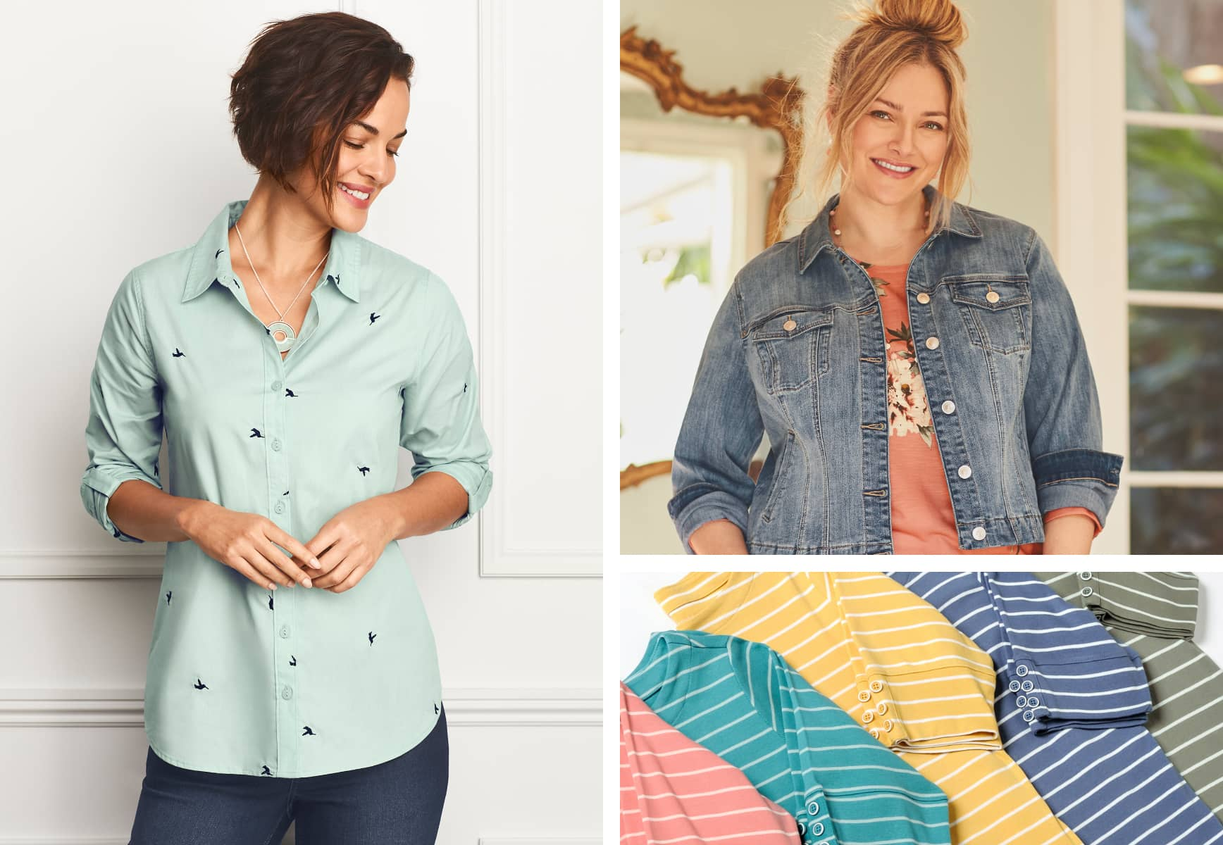 Our models: the first wearing a stripe boatneck tee with our everyday tapered jean and the second wearing a pleat back denim jacket, floral bouquet top, and Signature Slimming® 5-Pocket jean; in the middle: a stylish array of Spring-colored striped tees.