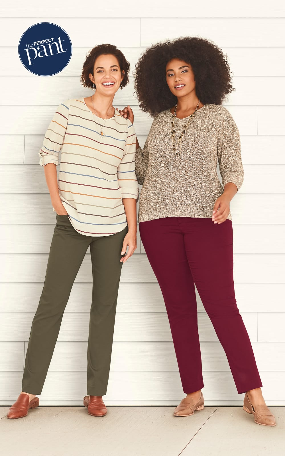 The Soft Stripes Outfit (combining the Multi-Stripe Blouse, the Everyday Trouser Pant, the Oval and Stone Drop Earring, and the Long Stone Pendant Necklace) and the Rustic Red Outfit (combining the Slub Yarn Marled V-Neck Pullover Sweater, the Super-Stretch Tapered Pant, the Chocolate Finish Filigree Drop Earring, and the Long Chocolate Finish Filigreee Pendant Necklace).