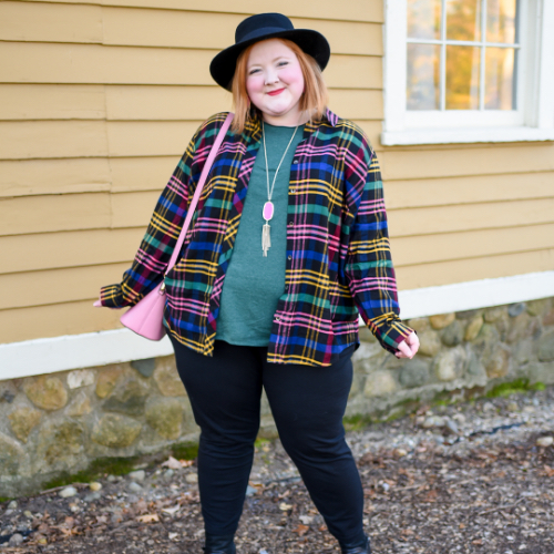 One of our Bloggers with Wonder and Whimsy wearing a classic plaid shirt.