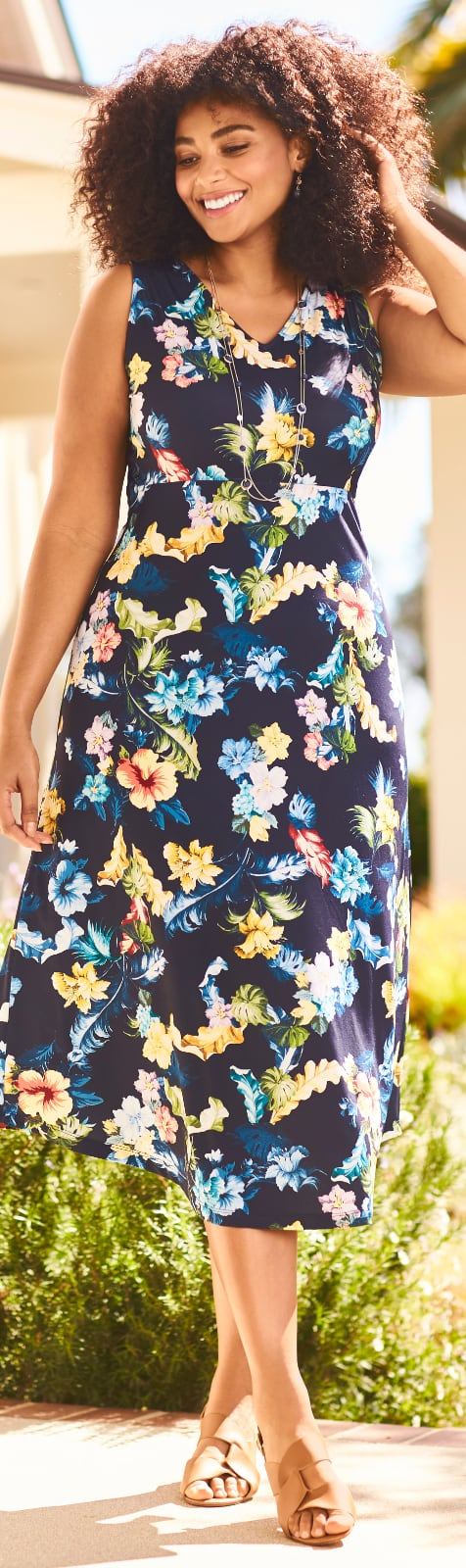 """The """"Bright Floral Summer"""" Outfit featuring a Sleeveless Floral Printed Dress and a Triple Strand Necklace."""
