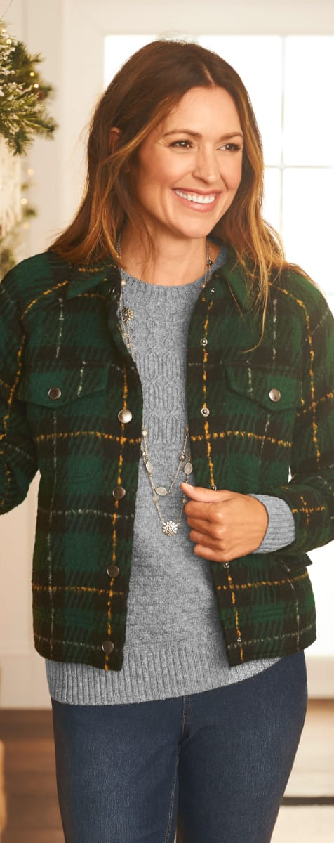 The Evergreen Dreams Outfit: Featuring the Large scale plaid jacket, soft yarn pullover sweater, with a double layer snowflake necklace.