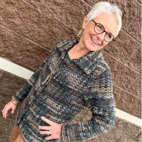 A Christopher & Banks Associate wearing Button Front Jacquard Sweater Jacket