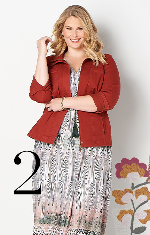 2. Try combining the Solid Twill Jacket with a Geo-Tile Dress.
