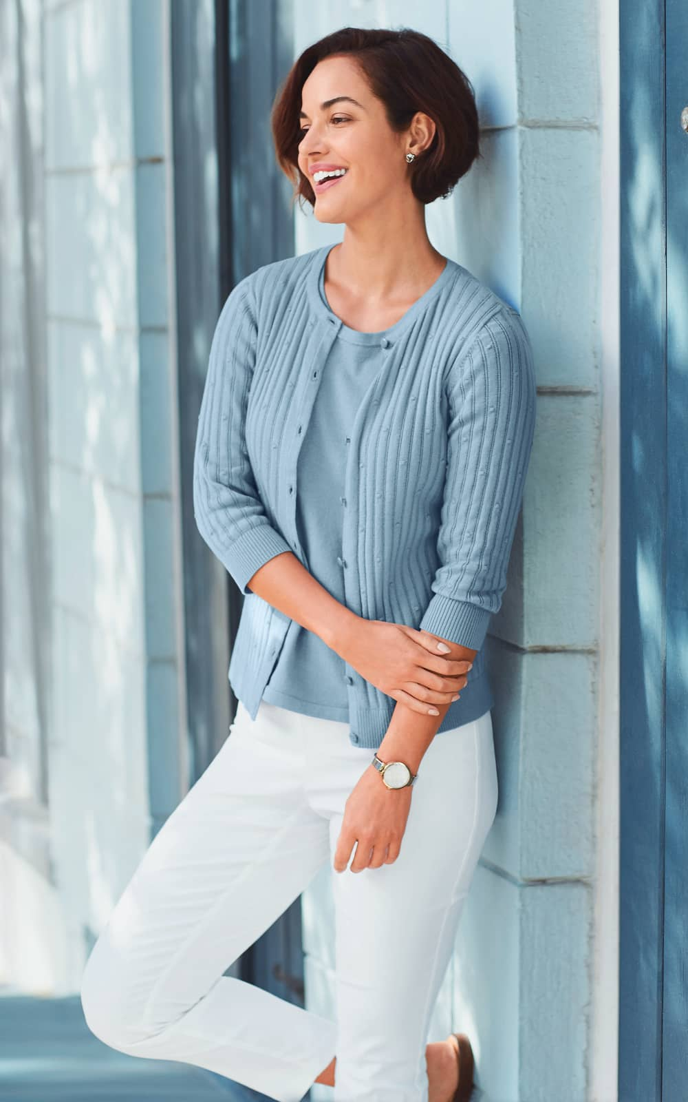 Our Perfect Textured Cardigan, a Perfect Sweater Tank, and a Signature Slimming® Luxe Stretch Ankle pant.