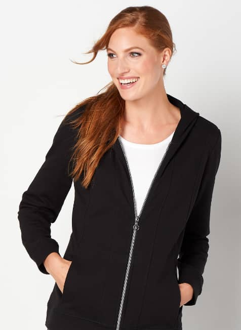 Assorted relaxed.Restyled.® tops with a zip-up hooded jacket.