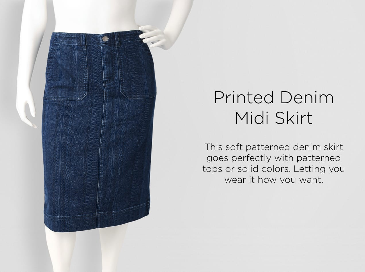 Printed Denim Midi Skirt. This soft patterned denim skirt goes perfectly with patterned tops or solid colors. Letting you wear it how you want.