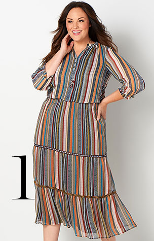 1. Try combining the Tiered Multi-Stripe Skirt with a Multi-Stripe Printed Blouse.