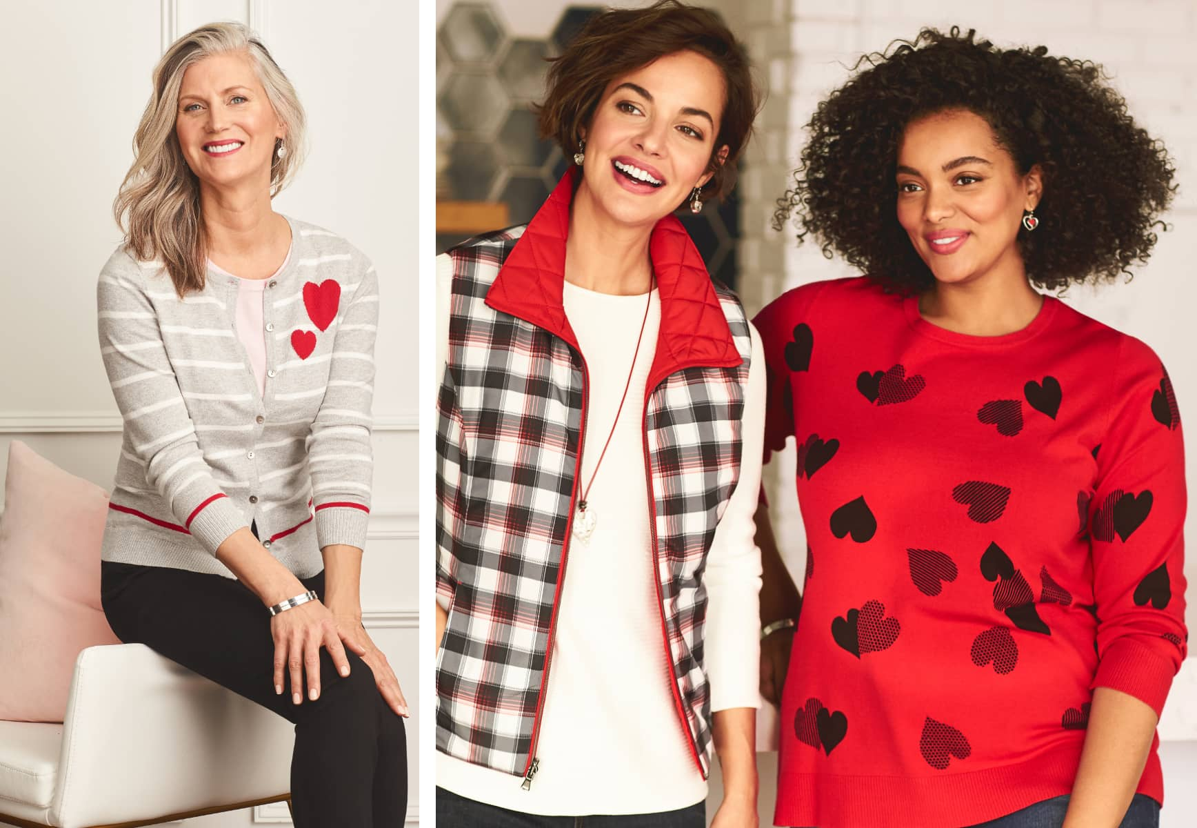 Three Women Wearing Heart themed Sweaters and Tops.