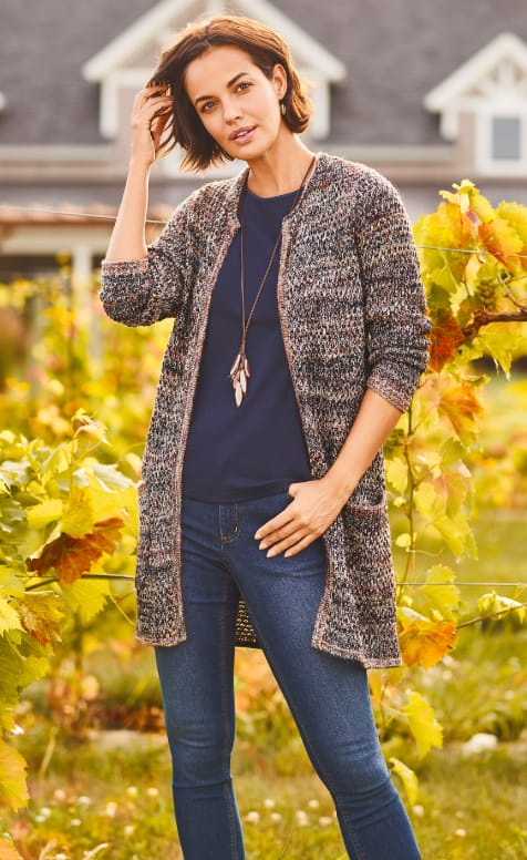 "Our ""Cozy Cardigan"" Outfit featuring our Tuck Stitch Coatigan Sweater, Satin Trim Perfect Tank, Everyday Tapered Jean Average Shaped Fit, and a Long Corded Leaf Lariat."