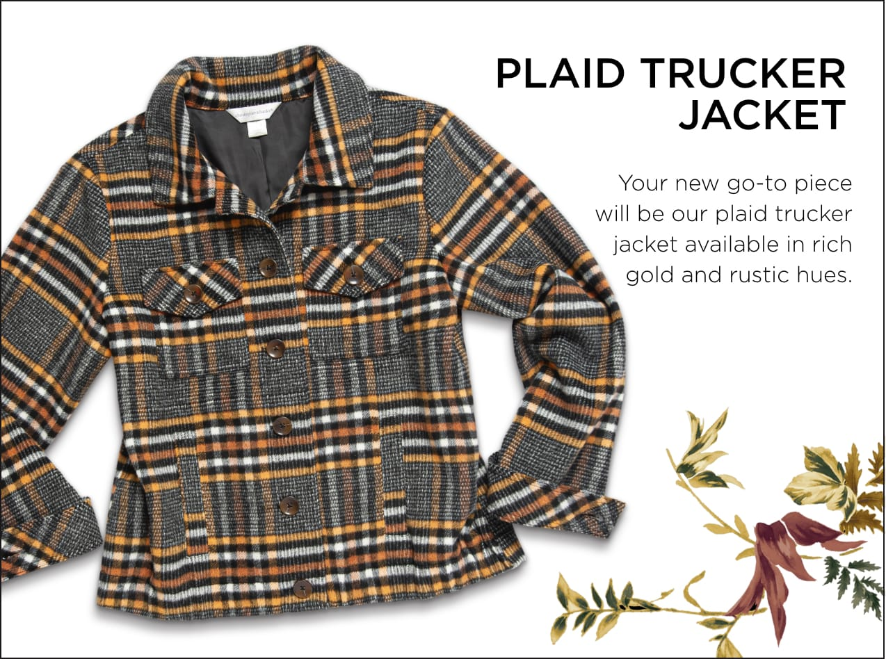 Plaid Trucker Jacket: Your new go-to piece will be our plaid trucker jacket available in rich gld and rustic hues.