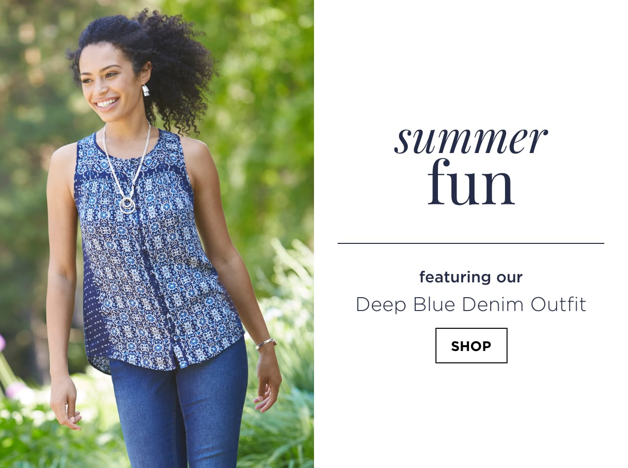 """Summer Fun. Featuring our """"Deep Blue Denim"""" Outfit: including the Sleeveless Border Print Plus Size Blouse, Everyday Straight Plus Size Jean Average Straight Fit, Hammered Drops Earrings, and a Metal Circles Necklace. Shop."""